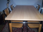 Modern Chrome & Beech Dining Table & 4 Chairs